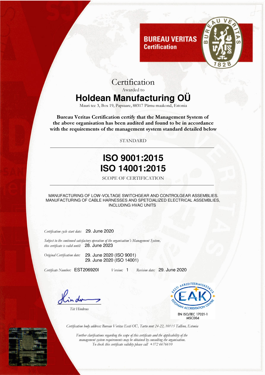 Holdean Manufacturing ISO 9001
